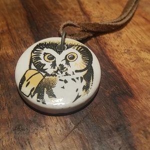 🦉Owl Necklace with Suede Cord